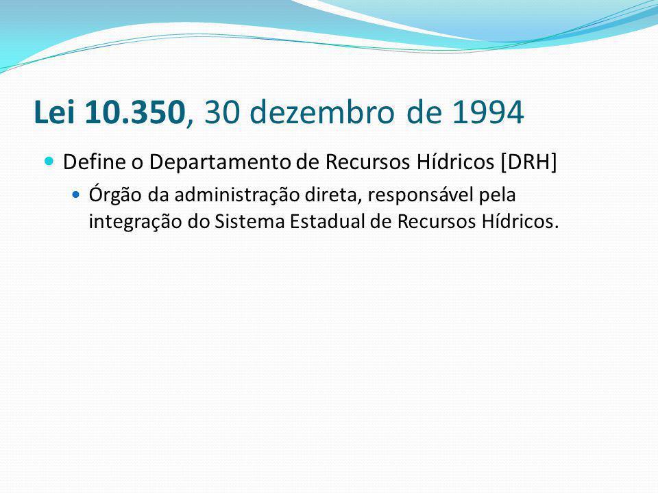 Lei 10.350, 30 dezembro de 1994 Define o Departamento de Recursos Hídricos [DRH]